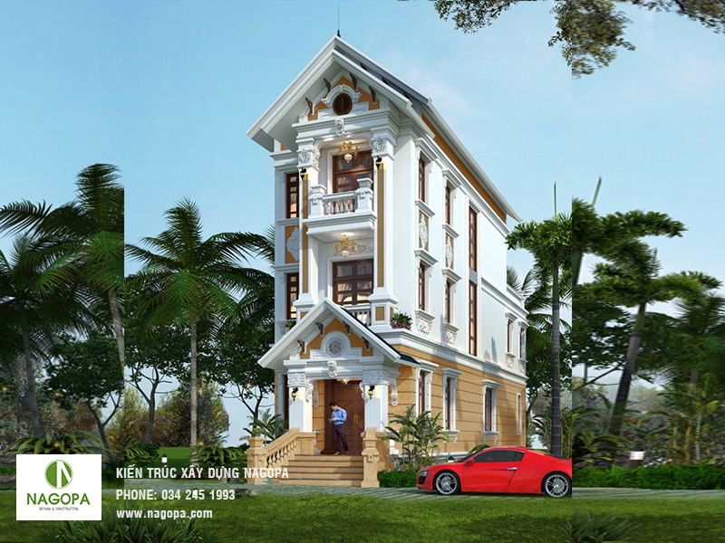thiết kế biệt thự kiến trúc pháp tại Bến Cát, Bình Dương
