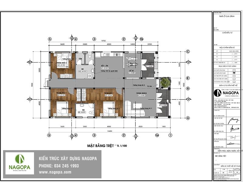 mặt bằng nhà cấp 4 3 phòng ngủ mái thái 02