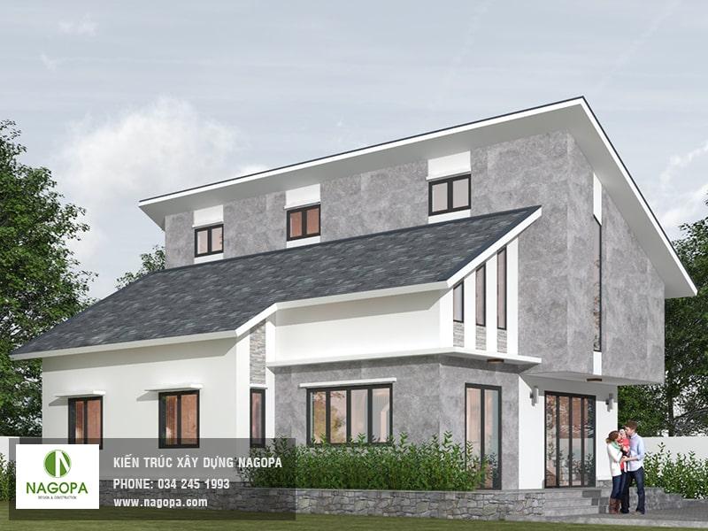 thiết kế nhà mái lệch 2 tầng Bình Dương 01