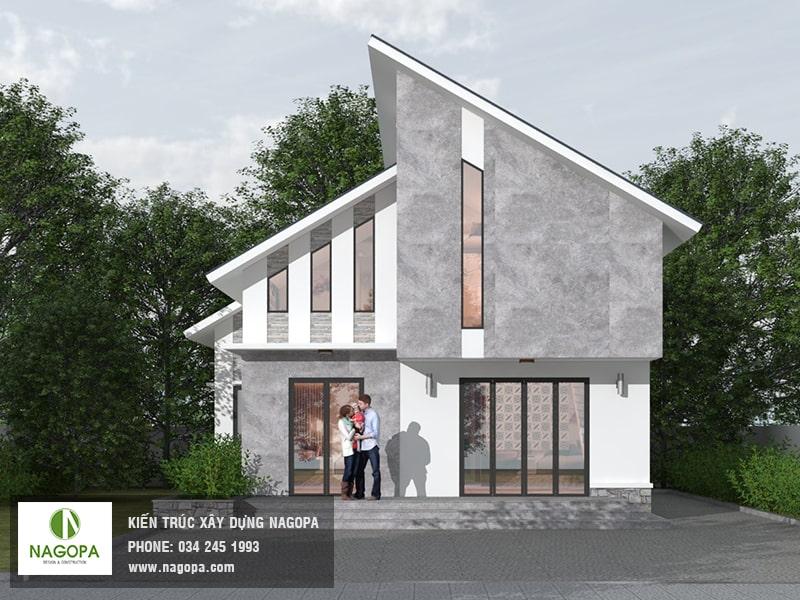 thiết kế nhà mái lệch 2 tầng Bình Dương 02