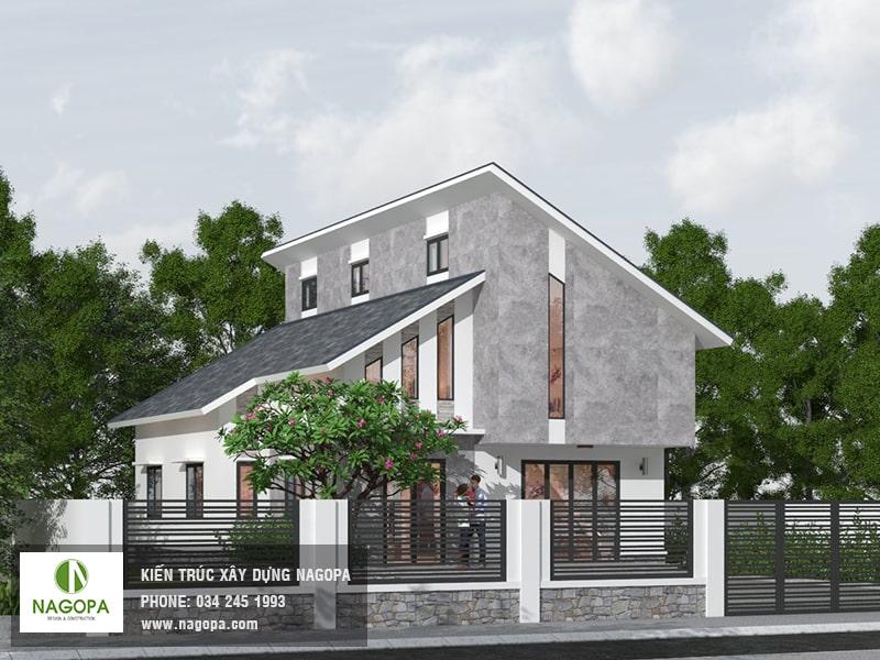 thiết kế nhà mái lệch 2 tầng Bình Dương 03
