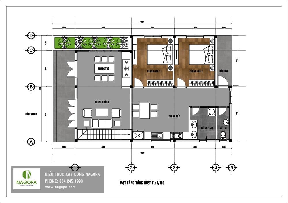 thiết kế nhà mái lệch 2 tầng Bình Dương 05