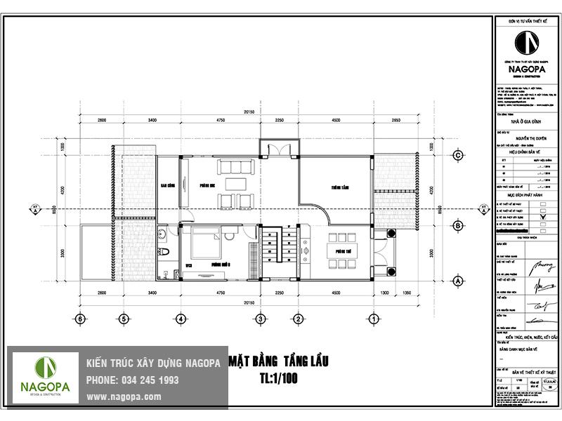 mặt bằng lầu biệt thự 2 tầng tại định hòa