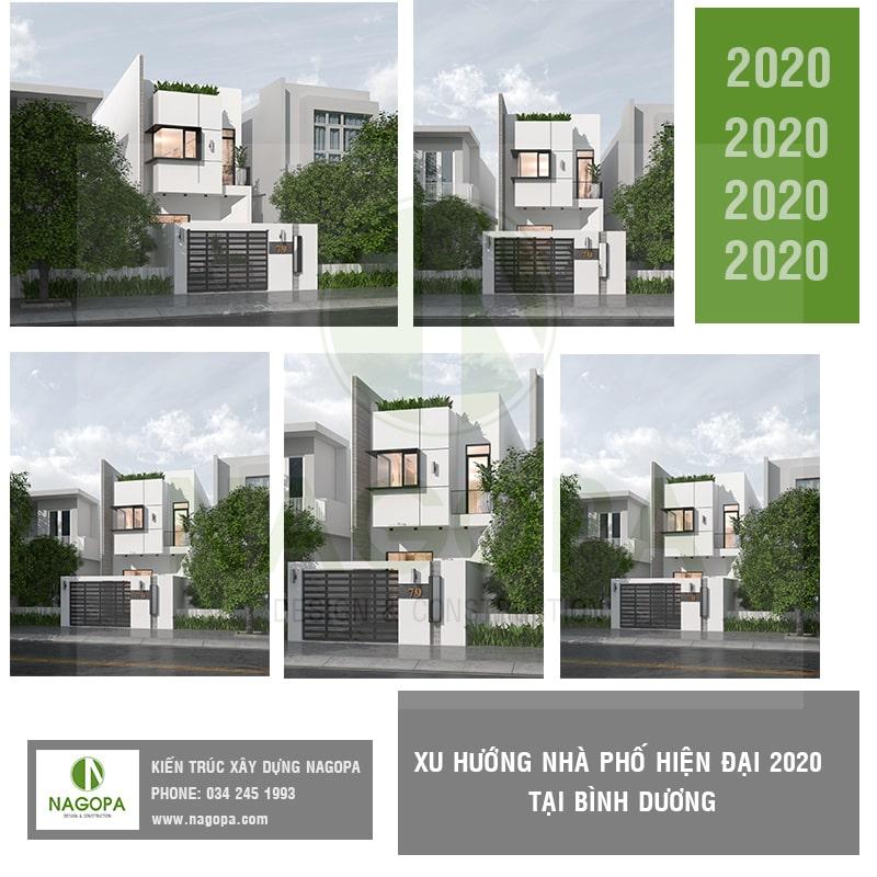 mẫu nhà phố hiện đại xu hướng bình dương 2020