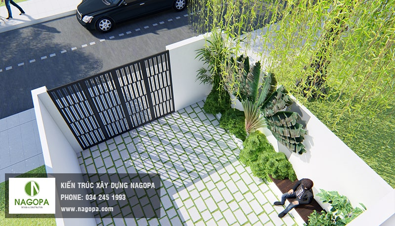 mẫu sân trước nhà phố hiện đại 5m 4