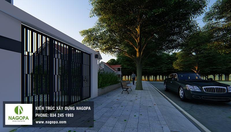 mẫu sân trước nhà phố hiện đại 5m 8