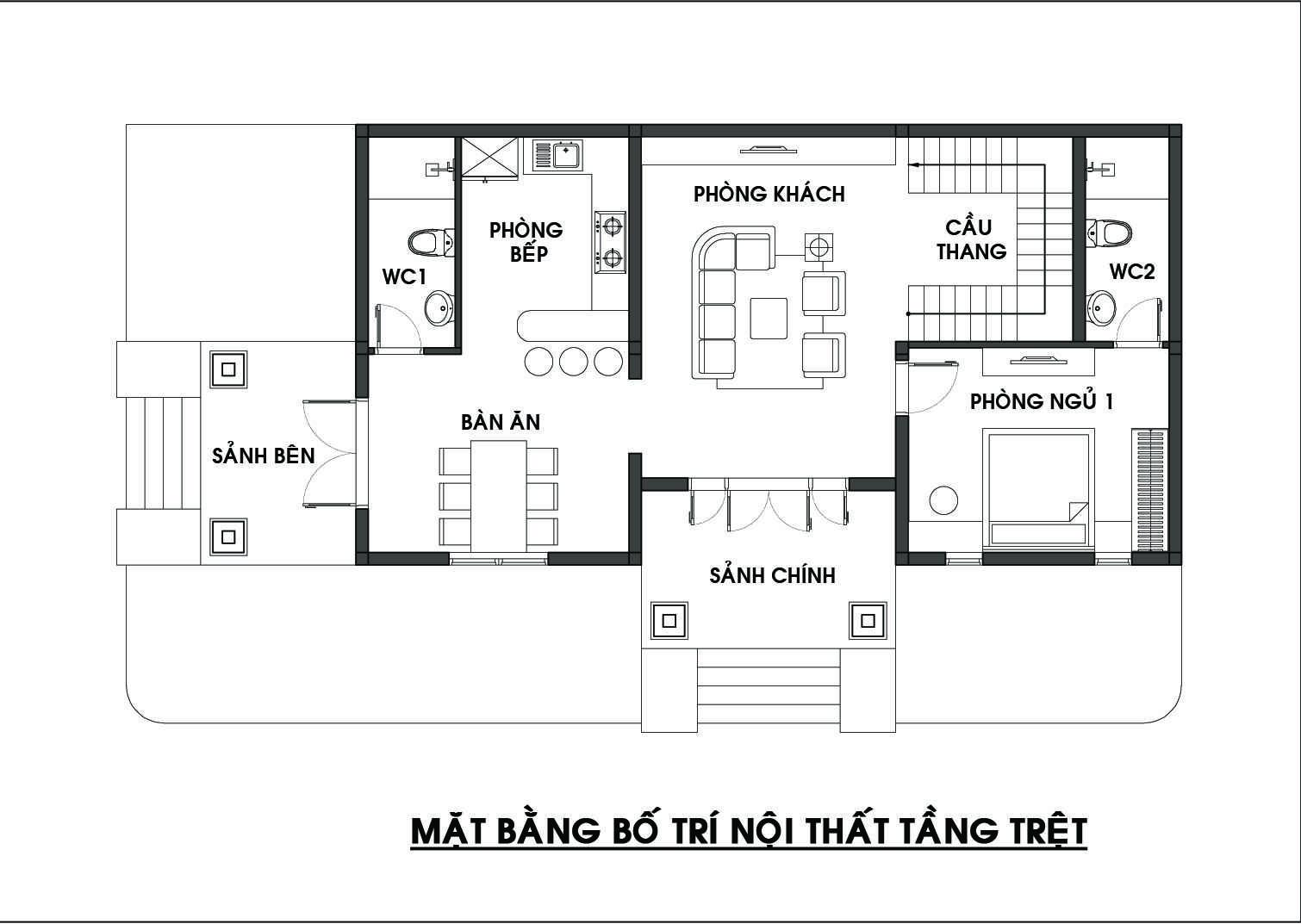 mặt bằng biệt thự 2 tầng 4 phòng ngú