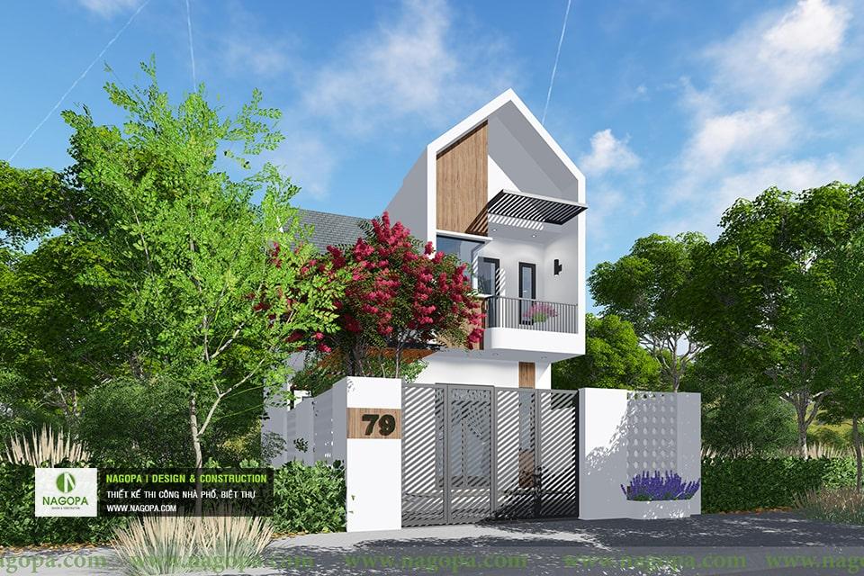 thiết kế kiến trúc nhà phố mái xéo 2 tầng 01