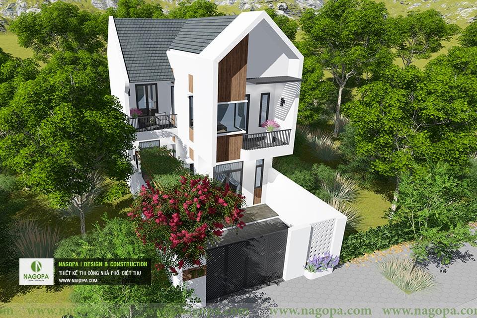 thiết kế kiến trúc nhà phố mái xéo 2 tầng 04