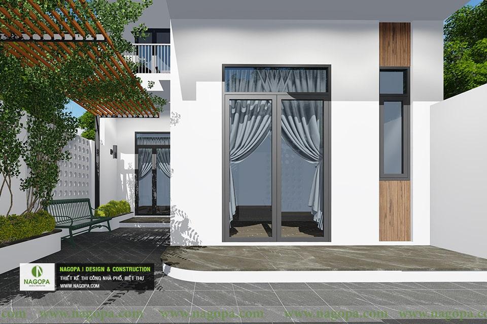 thiết kế kiến trúc nhà phố mái xéo 2 tầng 06