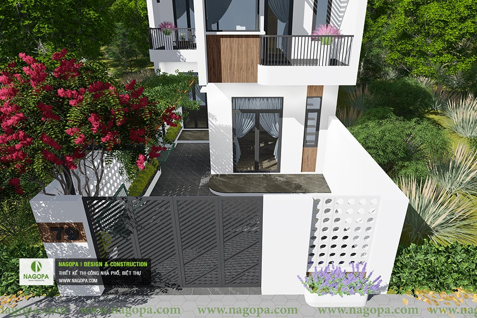 thiết kế kiến trúc nhà phố mái xéo 2 tầng 07