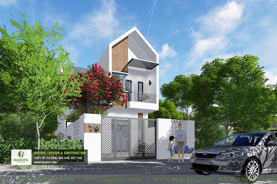 thiết kế kiến trúc nhà phố mái xéo 2 tầng 08