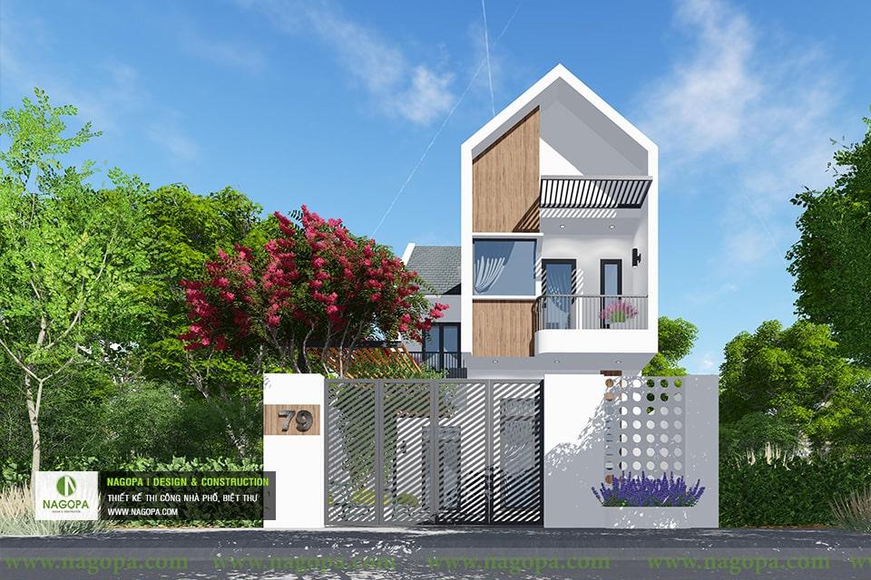 thiết kế kiến trúc nhà phố mái xéo 2 tầng