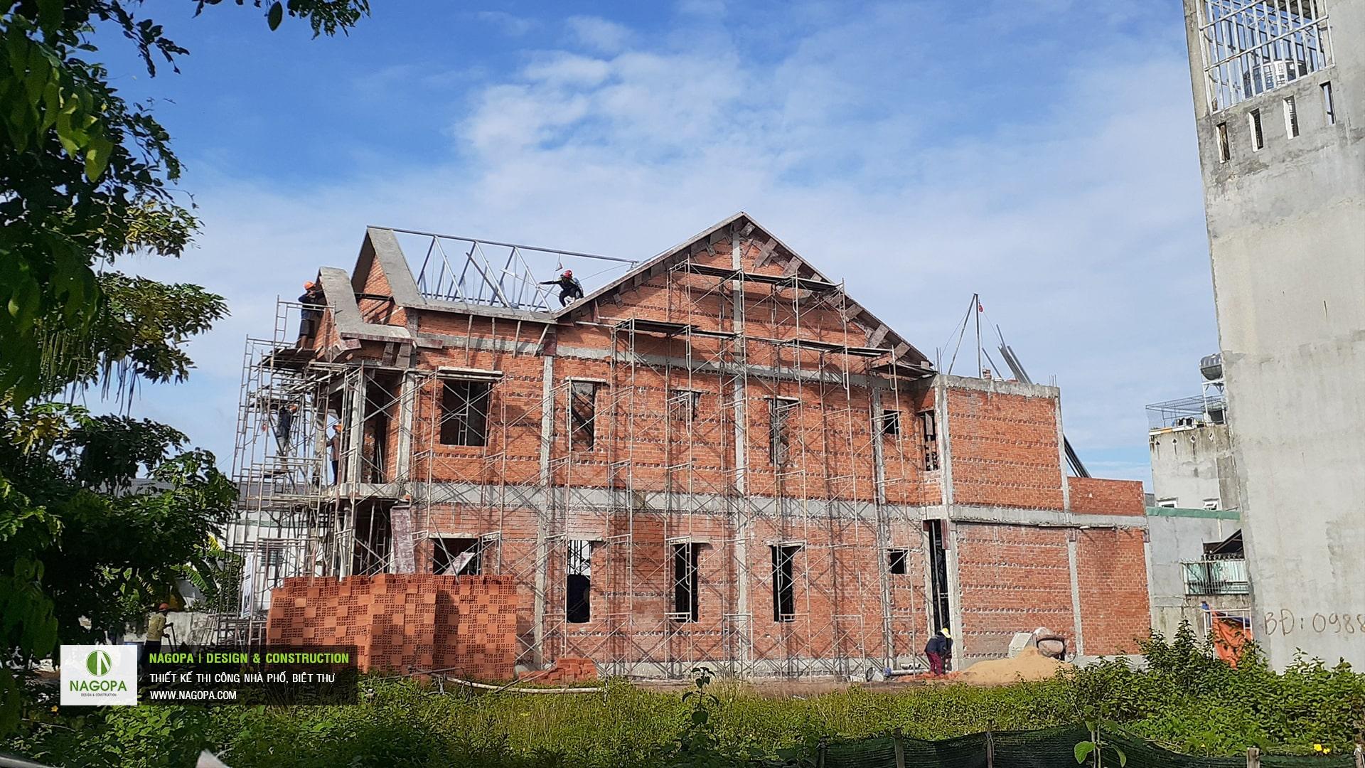 tiến độ xây dựng nhà phố chị H Thủ Dầu Một