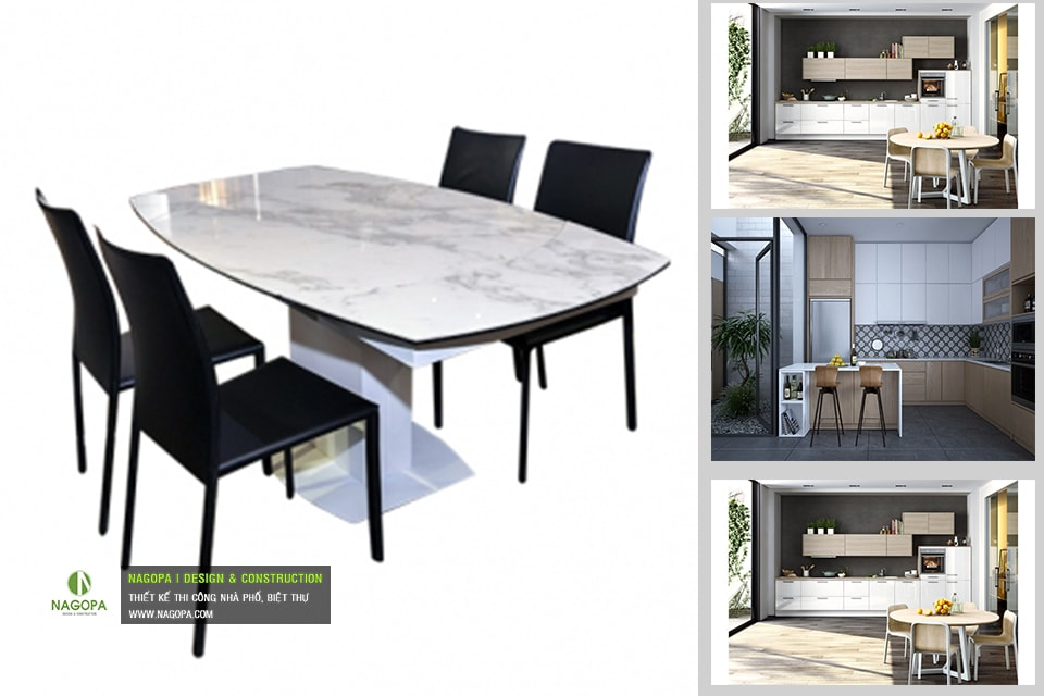 Bộ bàn ăn 4 ghế hiện đại 03