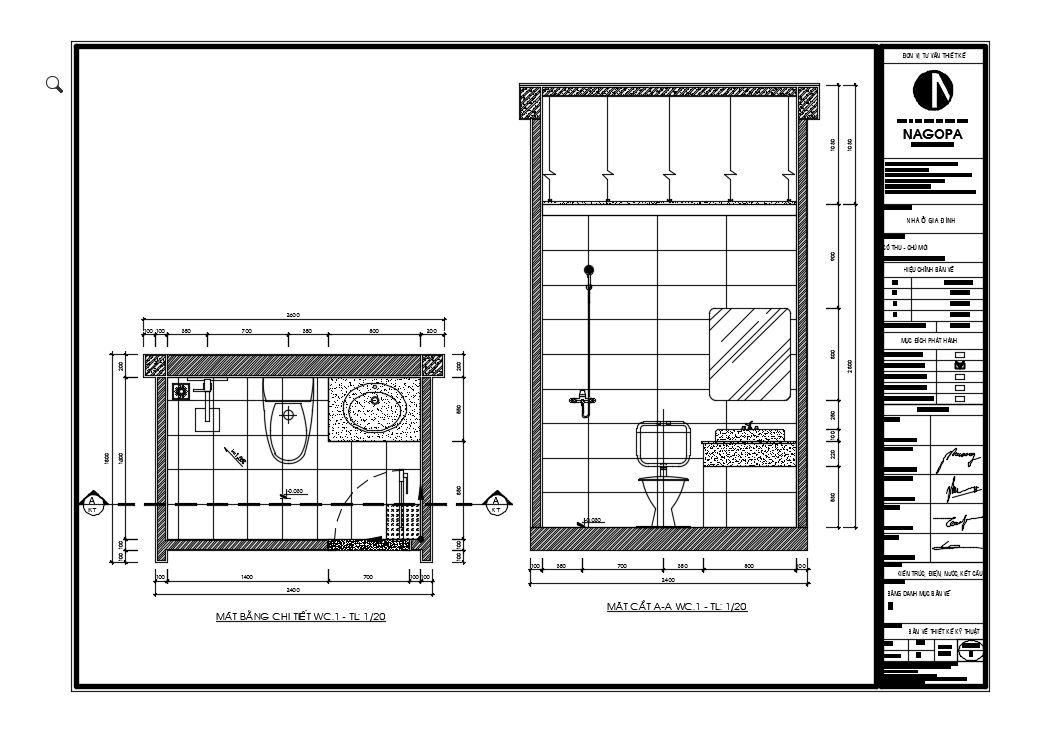 bản vẽ 2d chi tiết nhà wc nhà phố