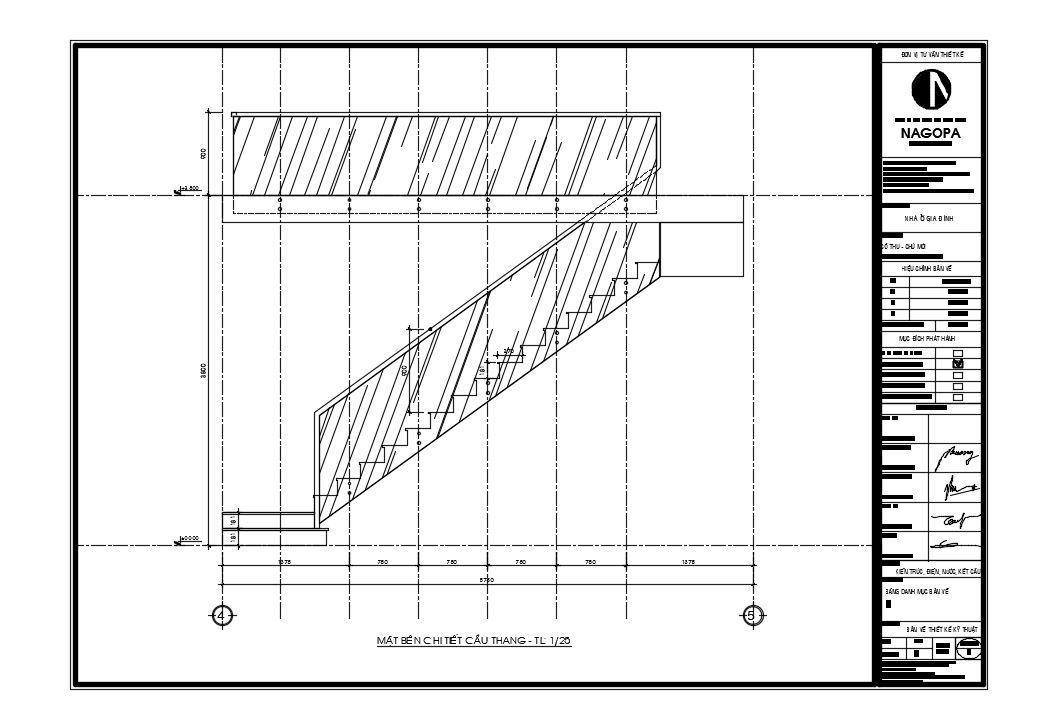 bản vẽ 2d mặt bằng chi tiết cầu thang nhà phố 01