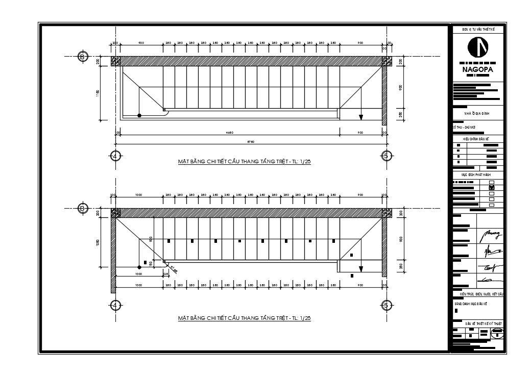 bản vẽ 2d mặt bằng chi tiết cầu thang nhà phố