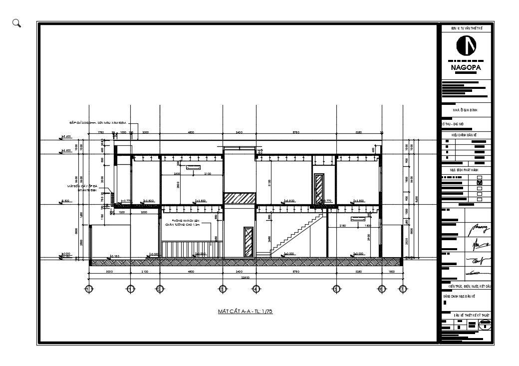 hình ảnh 2d mặt cắt công trình nhà phố