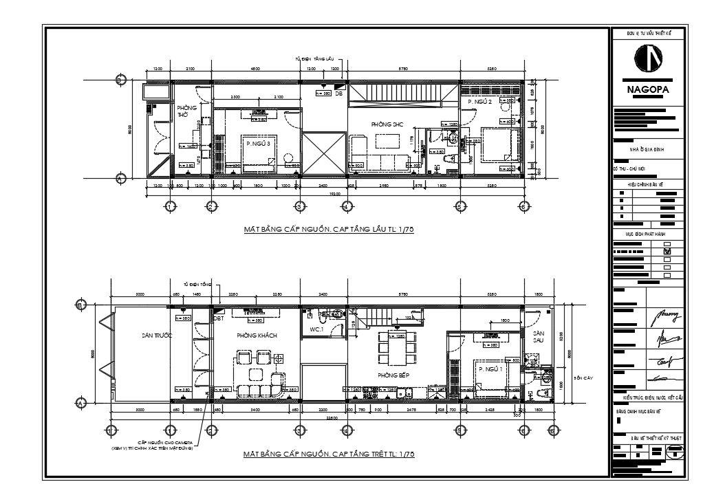 mặt bằng chi tiết bản vẽ cấp điện nhà phố