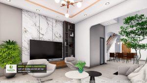 mẫu thiết kếnội thất nhà phố 2 tầng hiện đại