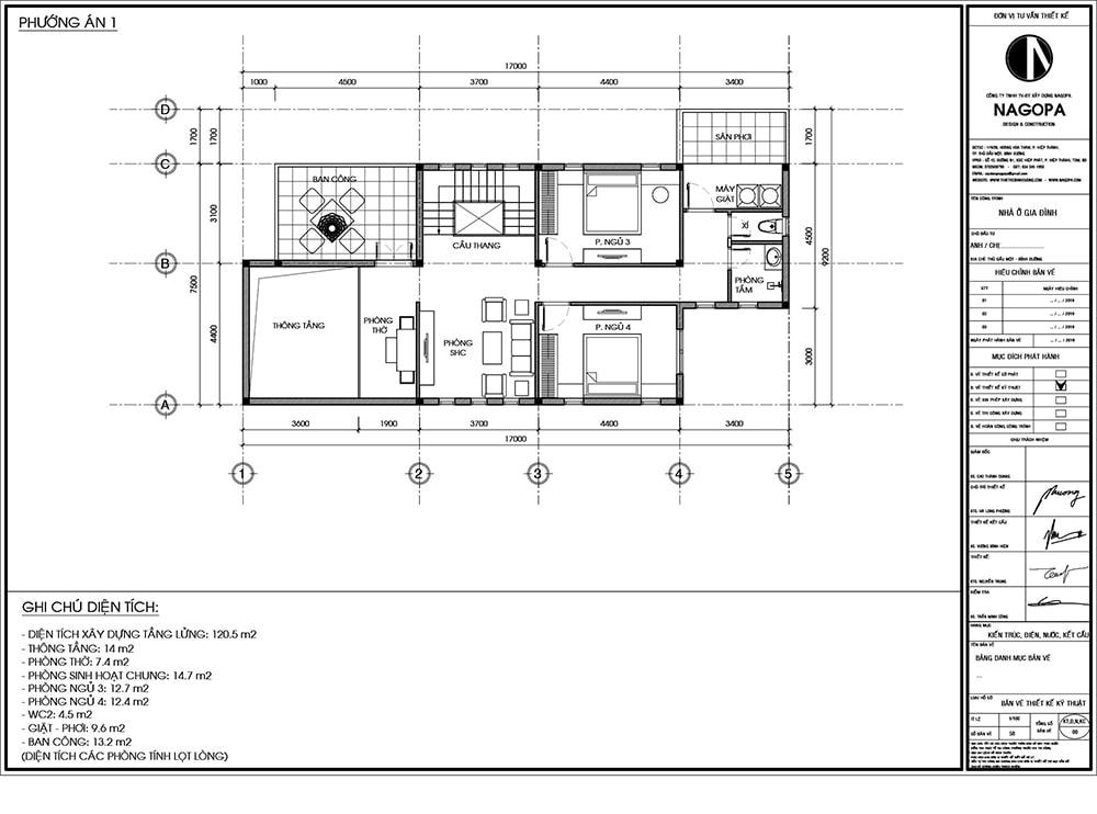 Bản vẽ Mặt Bằng:Biệt Thự 2 tầng mái ngói 130m2 có 4 phòng ngủ 2