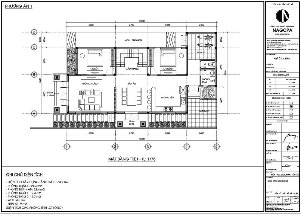 Bản vẽ Mặt Bằng:Biệt Thự 2 tầng mái ngói 130m2 có 4 phòng ngủ