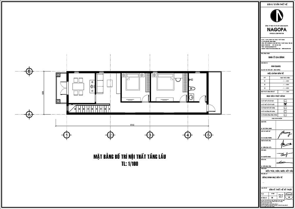 mặt bằng nhà phố 5m diện tích 5x18 với 3 phòng ngủ 01