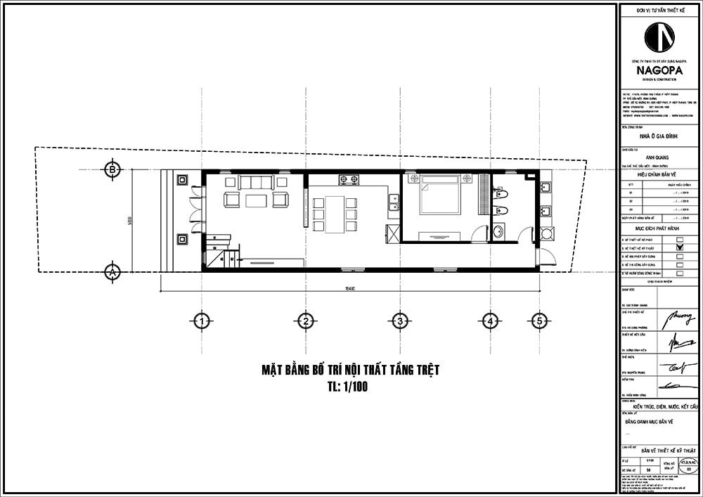 mặt bằng nhà phố 5m diện tích 5x18 với 3 phòng ngủ