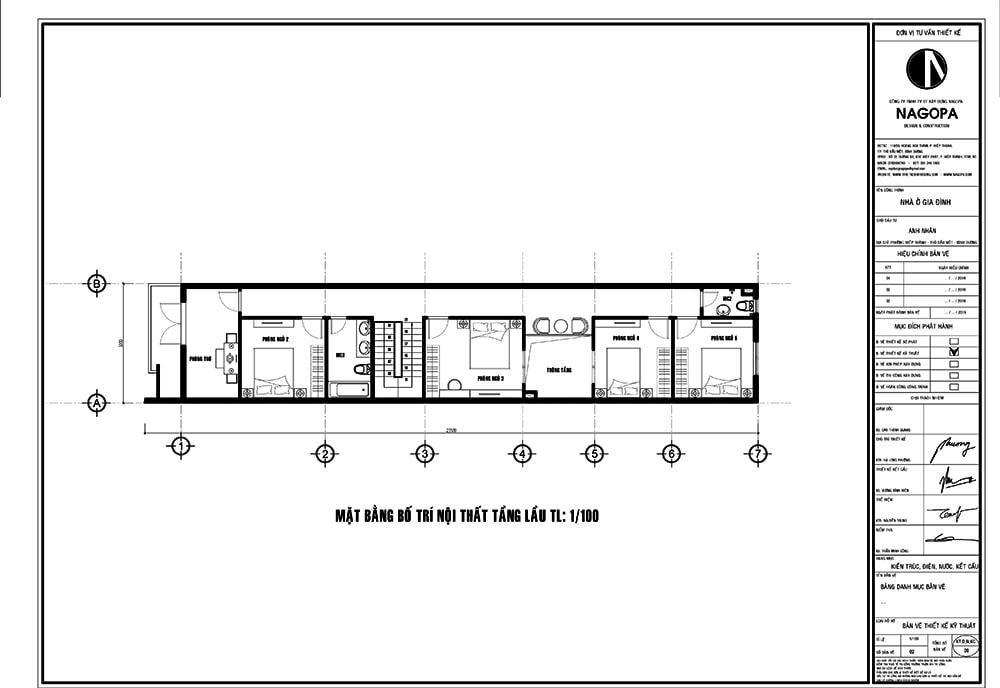 mặt bằng nhà phố 5m thiết kế 2 tầng có 5 phòng ngủ 01