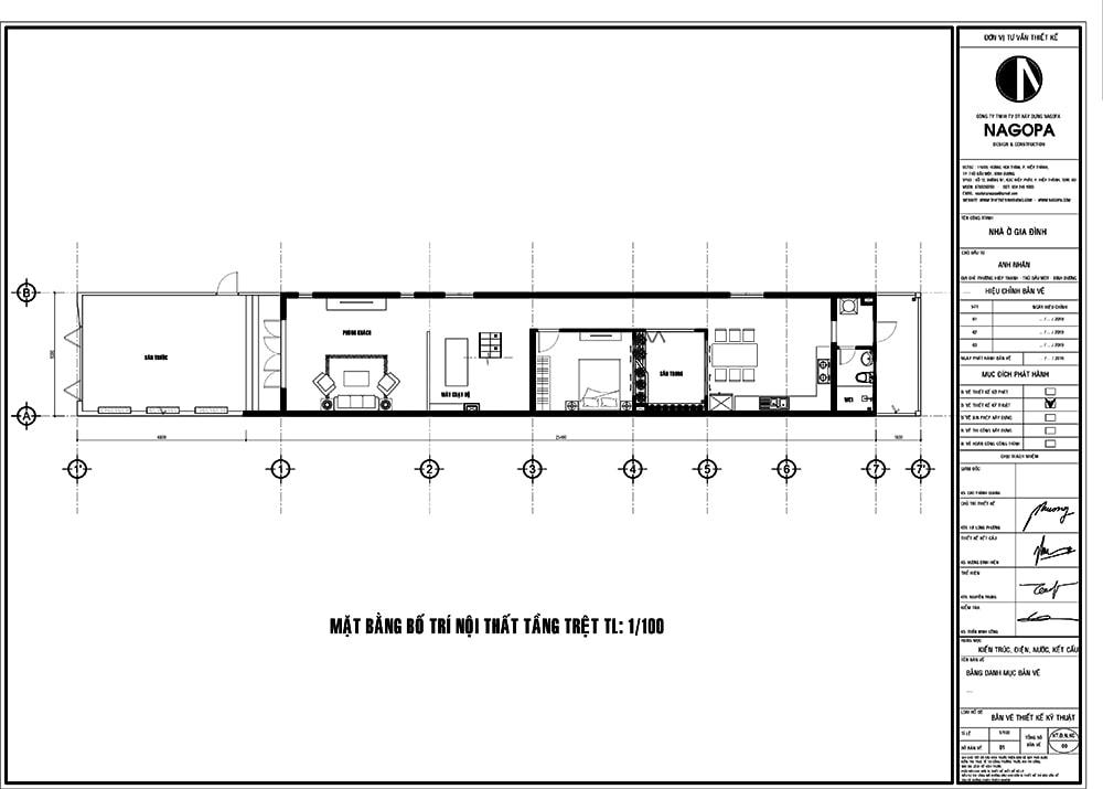 mặt bằng nhà phố 5m thiết kế 2 tầng có 5 phòng ngủ