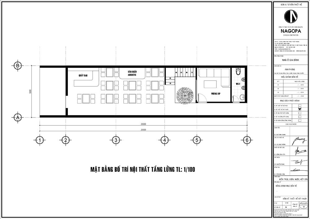 Mặt bằng nhà phố 5m thiết kế 3 tầng nhà ở kết hợp kinh doanh cafe