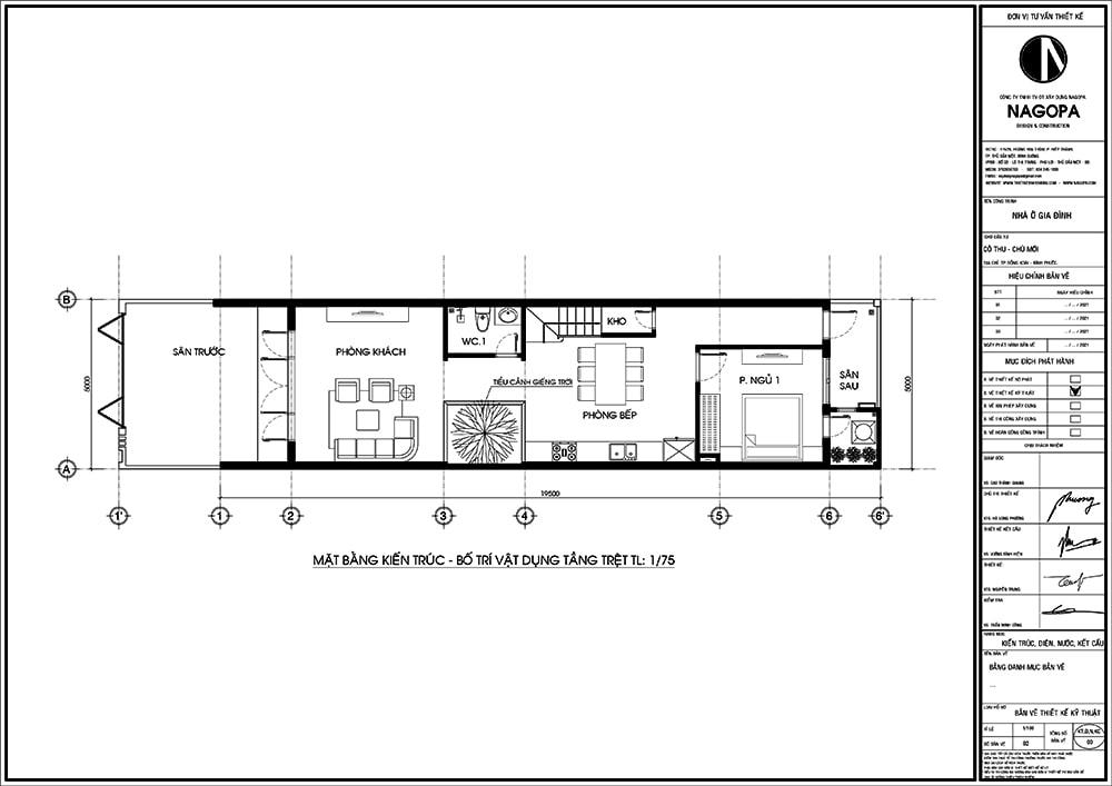 Mặt bằng nhà phố 5x20m thiết kế hiện đại 01