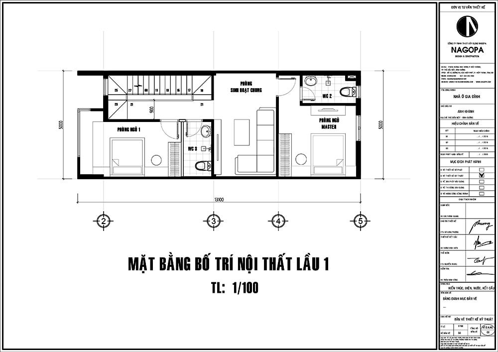 mặt bằng nhà phố 5x14m 3 tầng có sân thượng 01