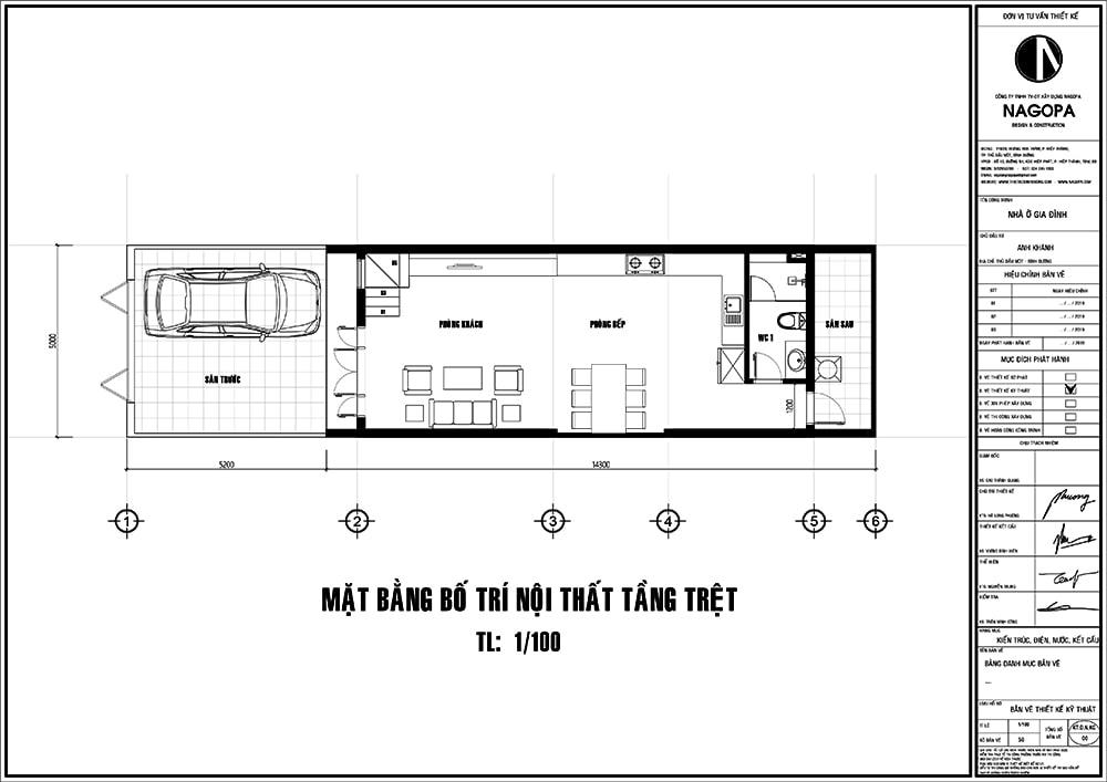 mặt bằng nhà phố 5x14m 3 tầng có sân thượng