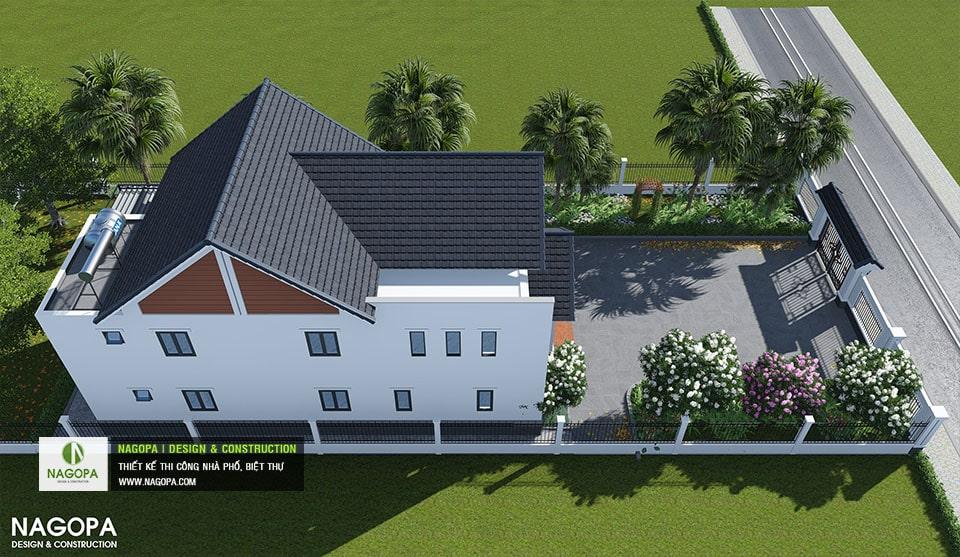 view tổng thể biệt thự 2 tầng mái thái chơn thành