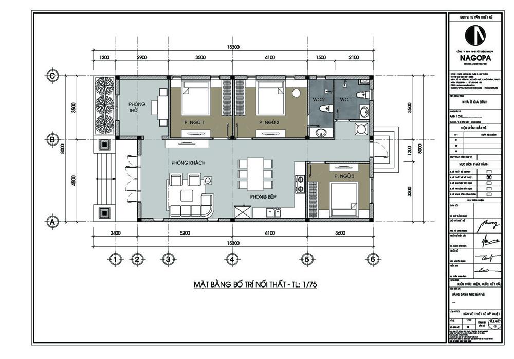 mặt bằng nhà cấp 4 có 3 phòng ngủ nổi bật 2