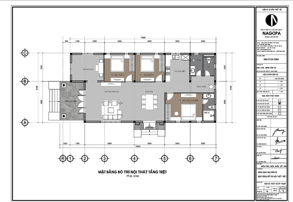 mặt bằng nhà cấp 4 có 3 phòng ngủ nổi bật