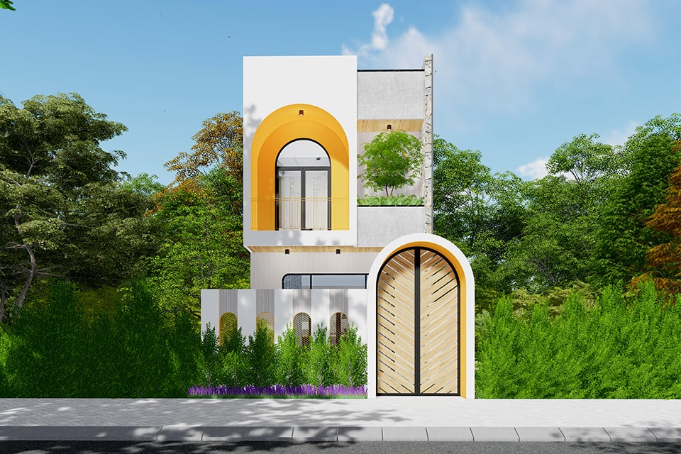 nhà phố mặt tiền 5m thiết kế 2 tầng 2