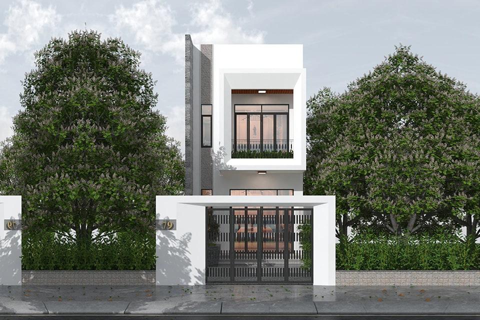 nhà phố mặt tiền 5m thiết kế 2 tầng 8