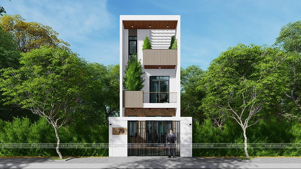 nhà phố mặt tiền 5m thiết kế 3 tầng