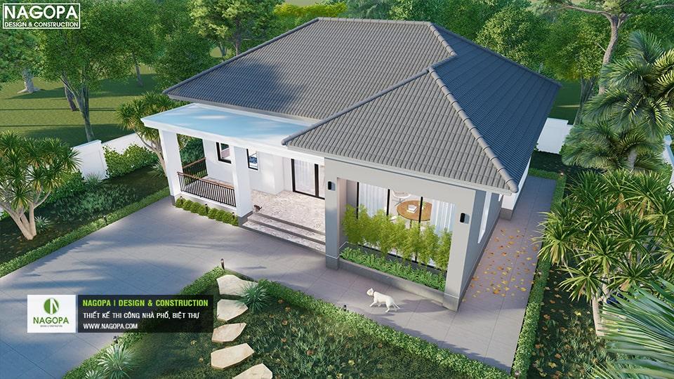 thiết kế nah2 vườn mái bánh ú có 2 phòng ngủ 6