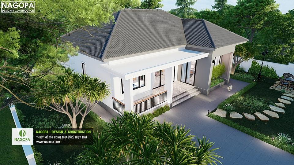 thiết kế nah2 vườn mái bánh ú có 2 phòng ngủ 8
