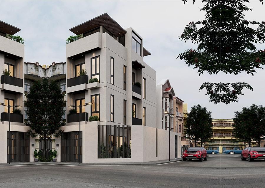 Nhà phố lô góc thiết kế 4 tầng