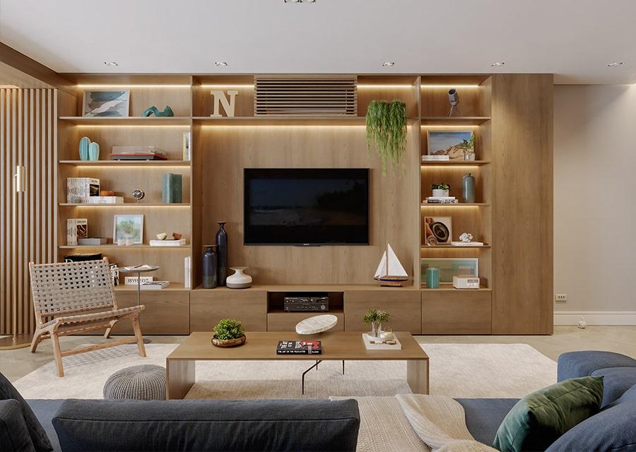 nội thất phòng khách nhà lô góc 1