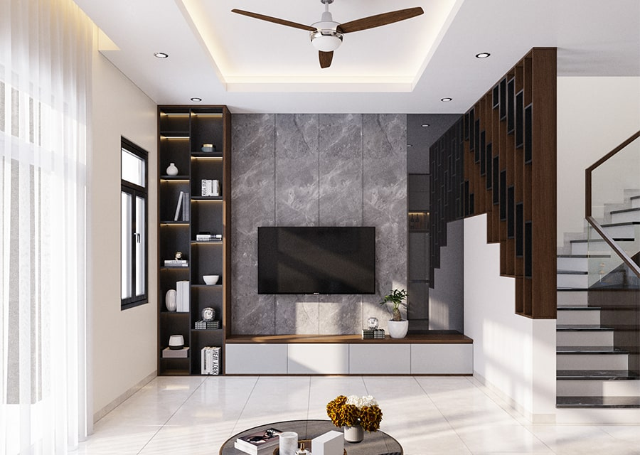 nội thất phòng khách nhà lô góc 3