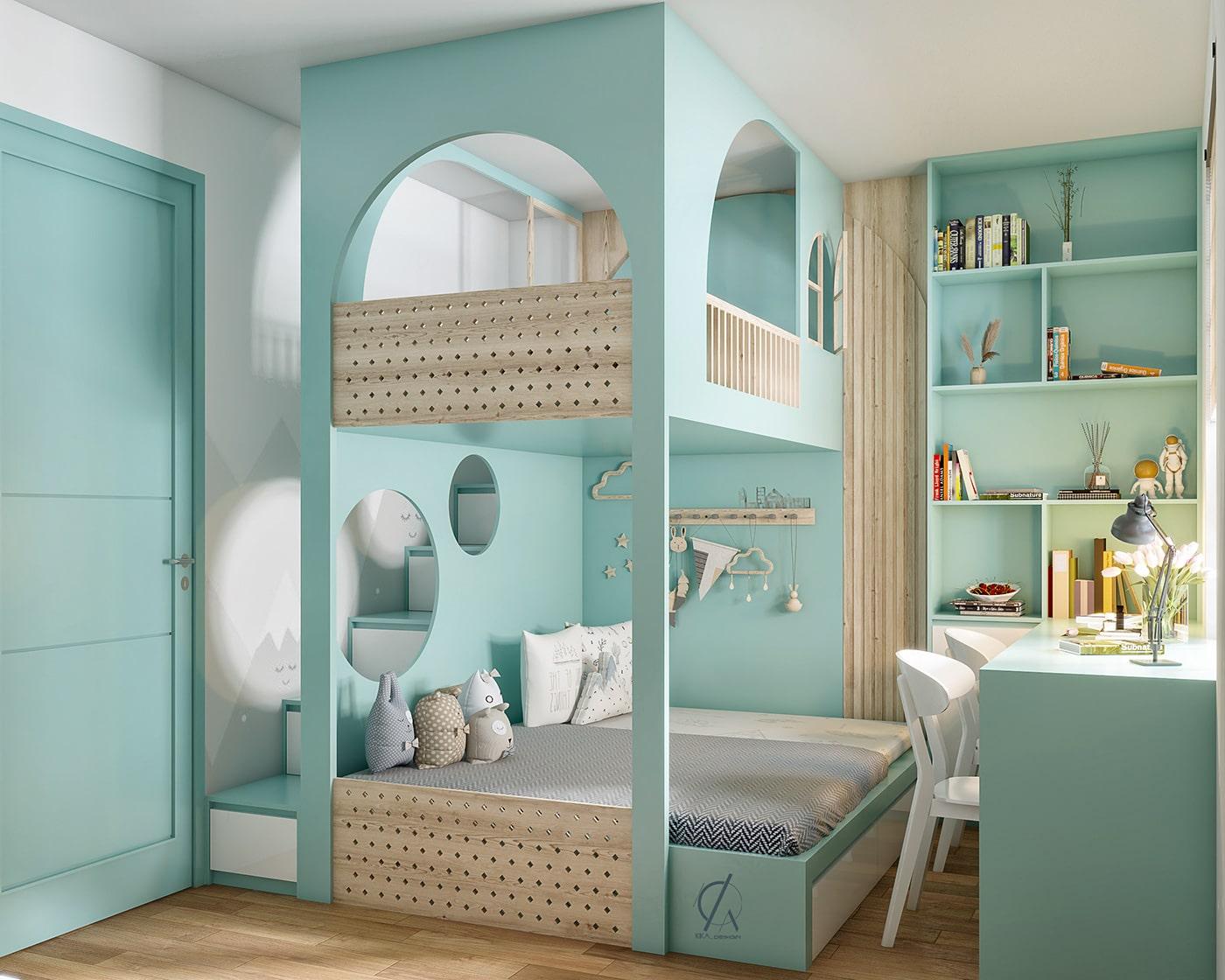 phòng ngủ bé gái màu xanh lam pastel 1