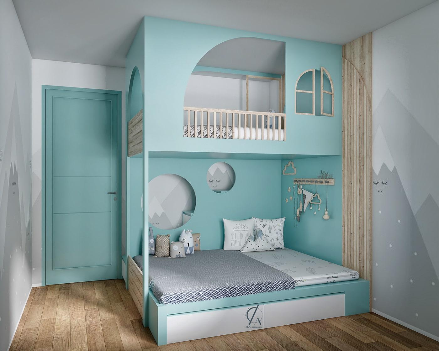 phòng ngủ bé gái màu xanh lam pastel 2