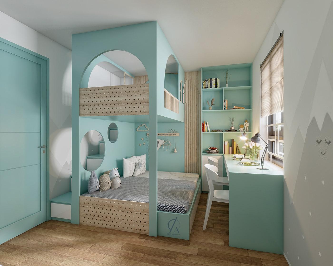 phòng ngủ bé gái màu xanh lam pastel 3