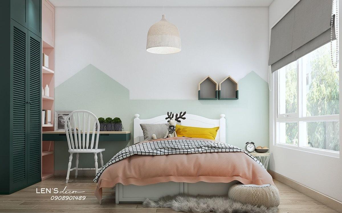 phòng ngủ bé gái màu xanh lam pastel 6